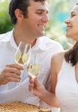 Jeunes couples heureux appréciant des glaces de vin blanc Photographie stock