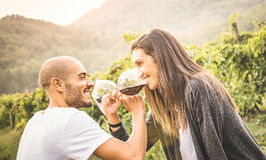 Jeunes couples heureux d'amant buvant du vin rouge au vignoble Image libre de droits
