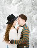Jeunes couples heureux dans l'histoire d'amour d'hiver de forêt d'hiver Photo stock