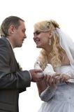 Jeunes couples heureux de nouveaux mariés Photos stock