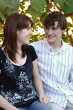 Jeunes couples heureux en stationnement photo stock