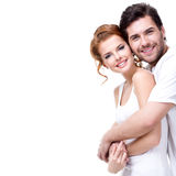 Jeunes couples heureux gais Photo stock