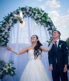 Jeunes couples heureux juste mariés Images libres de droits