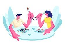 Jeunes couples heureux mangeant des sushi dans le restaurant Mâle et personnages féminins tenant des bâtons se reposant au Tablea illustration libre de droits