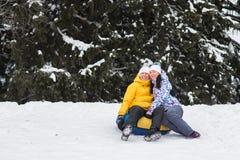 Jeunes couples heureux marchant en parc d'hiver Photos libres de droits