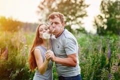 Jeunes couples heureux soufflant ensemble des pissenlits, extérieurs en nature Image stock