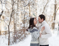 Jeunes couples heureux sous le gui ayant l'amusement Photos libres de droits