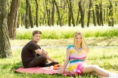 Jeunes couples heureux une date de pique-nique Photo stock