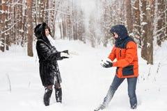 Jeunes couples jouant dans la neige, ayant le combat de boule de neige Photo stock