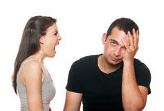 Jeunes couples malheureux ayant un argument image libre de droits