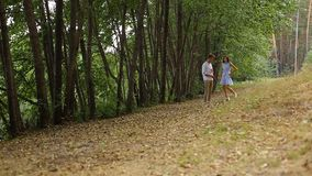 Jeunes couples marchant dans les bois sur la voie avec son chat banque de vidéos