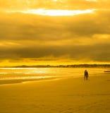 Jeunes couples marchant en plage de coucher du soleil Image libre de droits