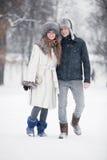 Jeunes couples marchant en stationnement Image stock