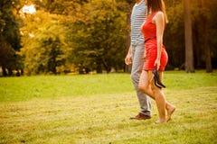 Jeunes couples marchant sur l'herbe Photographie stock