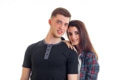 Jeunes couples mignons souriant à l'appareil-photo Images libres de droits