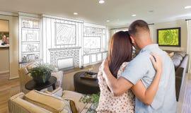 Jeunes couples militaires à l'intérieur du dessin fait sur commande de pièce et d'étude illustration stock