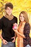 Jeunes couples montrant leur amour pour la pose d'appareil-photo Photo stock