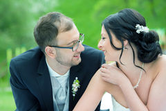 Jeunes couples nuptiales devant le fond de nature Photos libres de droits