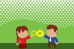 Jeunes couples partageant la vitesse Femme de lien d'homme ayant des relations réussies de commerce Concept travaillant d'innovat illustration libre de droits