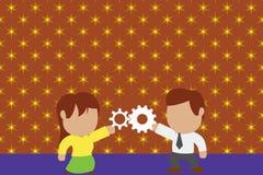 Jeunes couples partageant la vitesse Femme de lien d'homme ayant des relations r?ussies de commerce Concept travaillant d'innovat illustration libre de droits