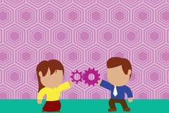 Jeunes couples partageant la vitesse Femme de lien d'homme ayant des relations r?ussies de commerce Concept travaillant d'innovat illustration stock
