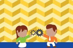 Jeunes couples partageant la vitesse Femme de lien d'homme ayant des relations r?ussies de commerce Concept travaillant d'innovat illustration de vecteur