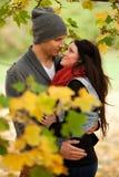 Jeunes couples romantiques dans l'amour détendant à l'extérieur Image libre de droits