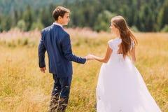 Jeunes couples romantiques de mariage marchant sur le champ ensoleillé avec le fond de forêt Vue arrière Image libre de droits