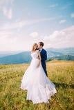 Jeunes couples romantiques de mariage posant sur le champ d'herbe ensoleillé avec Forest Hills éloigné et ciel merveilleux comme  Image libre de droits