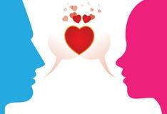 Jeunes couples romantiques exprimant l'amour par chattting illustration libre de droits
