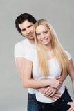 Jeunes couples romantiques heureux de sourire Image libre de droits