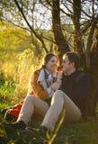 Jeunes couples se reposant et riant près de l'arbre Photos libres de droits