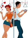 Jeunes couples sexting sur un souterrain illustration de vecteur