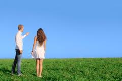 Jeunes couples sur le champ Photographie stock