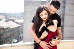 Jeunes couples tenant des chats dans des mains sur la terrasse Photo stock