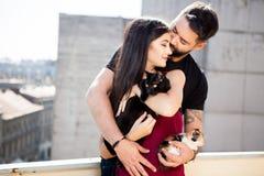 Jeunes couples tenant des chats dans des mains sur la terrasse Photographie stock libre de droits