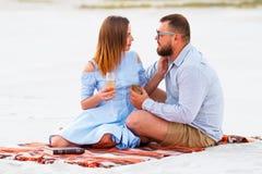 Jeunes couples tenant des verres dans des mains, couples heureux se reposant sur une couverture Images libres de droits