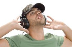 jeunes d'homme d'écouteur de capuchon Image stock