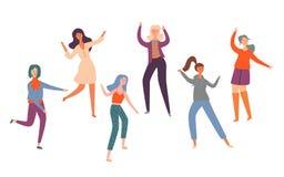 Jeunes danseuses de danse heureuses de personnes de groupe réglé illustration stock