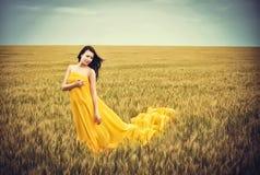 jeunes de blé de fille de zone Photographie stock libre de droits