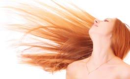 jeunes de femme d'isolement par cheveu Photographie stock libre de droits