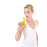 jeunes de femme de banane images stock