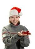 jeunes de femme de Claus Santa de capuchon Photos stock