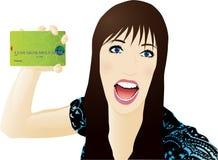 jeunes de femme de crédit de carte Images stock