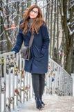 jeunes de femme de l'hiver de verticale image libre de droits