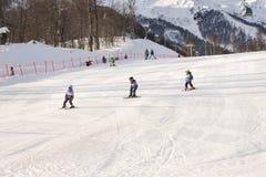 jeunes de pente de skieur de forêt de regain de fond Image stock