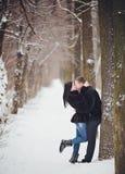 jeunes de sourire de l'hiver d'amour heureux de couples Image stock