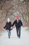 jeunes de sourire de l'hiver d'amour heureux de couples Photo libre de droits