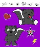 Jeunes expressions de bande dessinée de mouffette réglées Photo libre de droits
