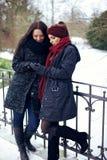 Jeunes femmes au parc d'hiver regardant quelque chose Photos stock